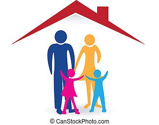 familia feliz, con, casa nueva, logotipo