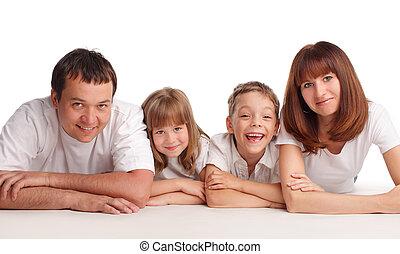 familia feliz, con, dos niños