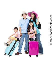 familia feliz, con, maleta, toma, vacaciones del verano