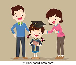 familia , feliz, día de graduación
