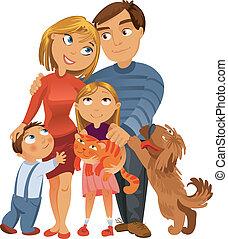 familia feliz, de, cuatro, y, dos, mascotas
