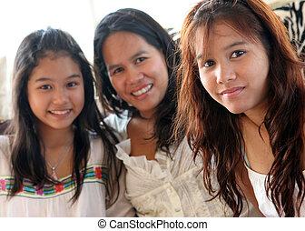 familia feliz, de, tailandia