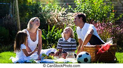 familia feliz, el gozar, el, sol, en, un, picnic