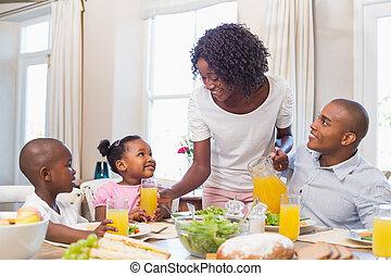 familia feliz, el gozar, un, sano, mea