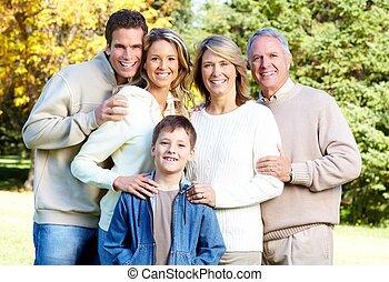 familia feliz, en, el, park.