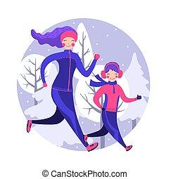 familia feliz, en, engranaje invierno, corriente, exterior.