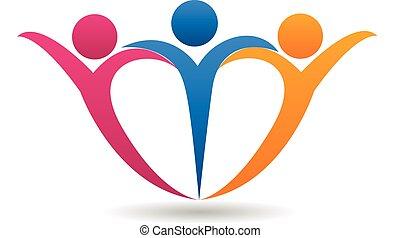 familia feliz, en, forma corazón, logotipo