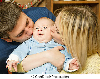 familia feliz, en, navidad