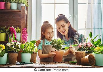 familia feliz, en, primavera, day.
