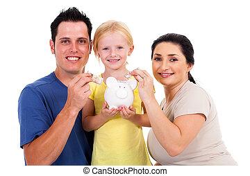 familia feliz, joven, ahorro