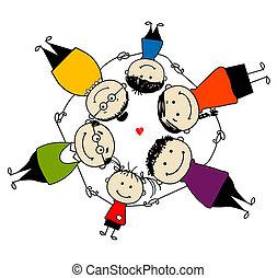 familia feliz, juntos, marco, para, su, diseño