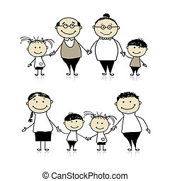 familia feliz, juntos, -, padres, abuelos, y, niños