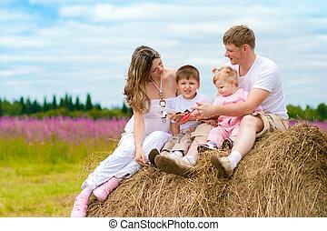 familia feliz, lanzamiento, juguetee avión, modelo, sentado, en, almiar, juntos