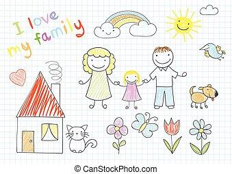 familia feliz, -, mamá, papá, y, hija
