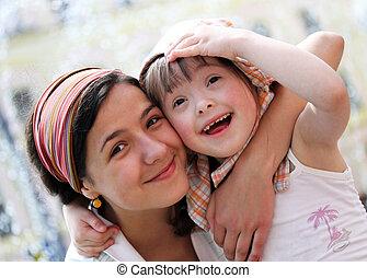familia feliz, momentos, -, madre y niño, tener, un,...