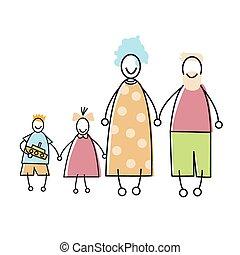 familia feliz, padres, niño, manos de valor en cartera