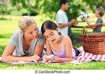 familia feliz, picnicking, en el parque