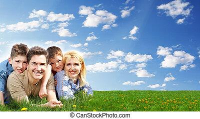 familia feliz, relajante, en, el, park.