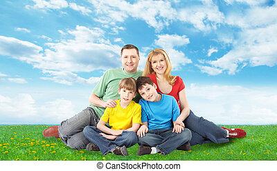 familia feliz, relajante, en, park.