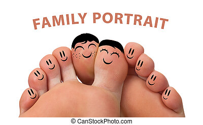 familia feliz, retrato, de, dedo, smileys