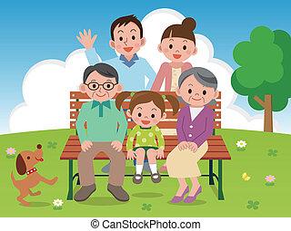 familia feliz, sentado, en, un, parque, benc