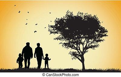 familia feliz, siluetas