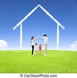 familia feliz, tener diversión, juntos, con, hogar, nube, plano de fondo