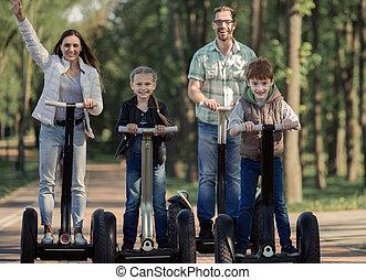 familia feliz, tener diversión, juntos, .
