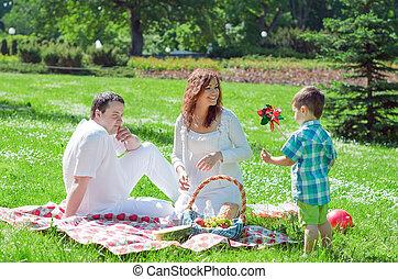 familia feliz, tener, picnic, en el parque