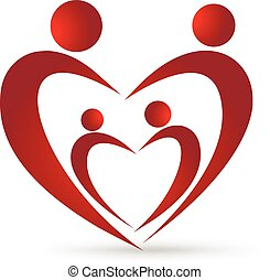 familia feliz, unión, en, un, corazón, logotipo