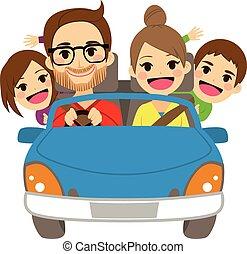 familia feliz, viajar, coche