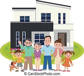 familia feliz, y, mi hogar