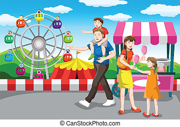 familia feliz, yendo, en, un, vacaciones