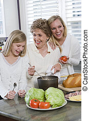 familia , generación, cocina, tres, almuerzo, cocina