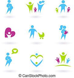 familia , iconos, aislado, paternidad, embarazo, blanco