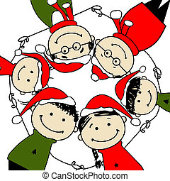 familia , ilustración, diseño, alegre, christmas!, su, feliz
