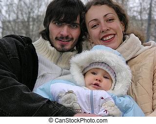 familia joven, de, tres
