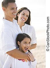 familia , joven, hispano, retrato, niña, feliz
