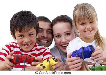 Familia Sofa Ninos Videogame Juego Familia Sentado Sofa