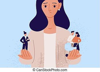 familia , making., escoger, decisión, opción, responsabilidades, entre, difícil, plano, vida, mujer, success., padre, balance, caricatura, búsqueda, illustration., carrera, dilema, vector, profesional, o