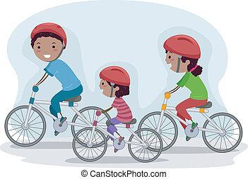 familia montar bicicleta, juntos