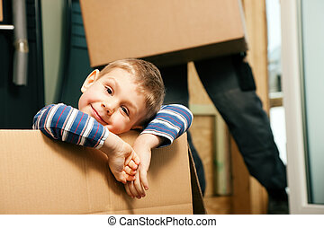 familia , mover, su, casa nueva