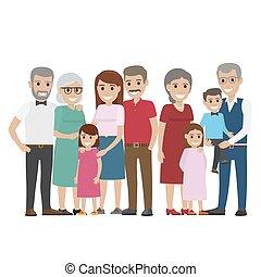 familia multigeneración, colorido, foto, blanco
