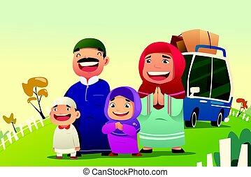 familia , musulmán, al, yendo, eid, hogar, fitri, celebrar