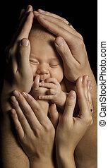 familia , nacido, padres, nacimiento, niño, nuevo niño, hands., baby.