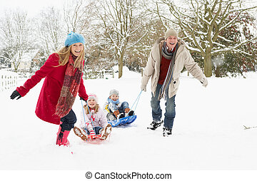 familia , nevoso, trineo, tirar, por, paisaje