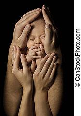 familia , niño, recién nacido, nacido, padres, manos, bebé, nuevo, asimiento, niño, sueño
