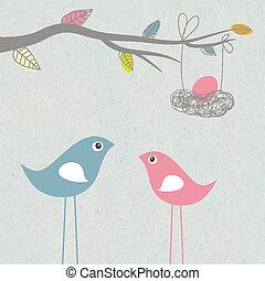 familia , nido, bebé, llegar, huevo, aves, tarjeta