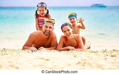 familia , padre, mar, madre, playa, niños, feliz