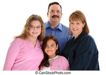familia , padre, norteamericano, madre, retrato, hijas